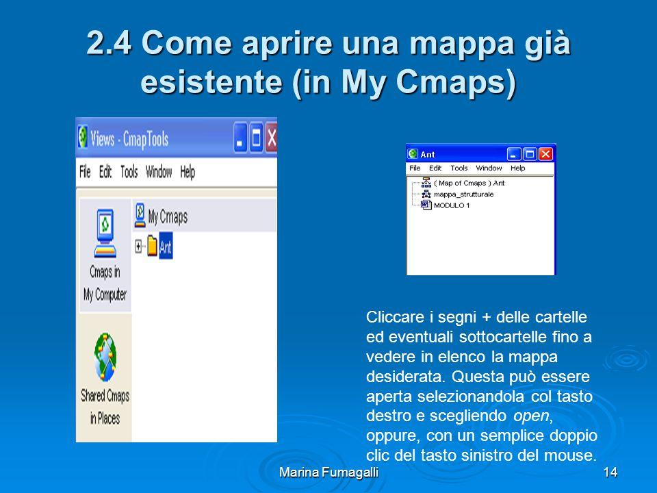 Marina Fumagalli14 2.4 Come aprire una mappa già esistente (in My Cmaps) Cliccare i segni + delle cartelle ed eventuali sottocartelle fino a vedere in elenco la mappa desiderata.