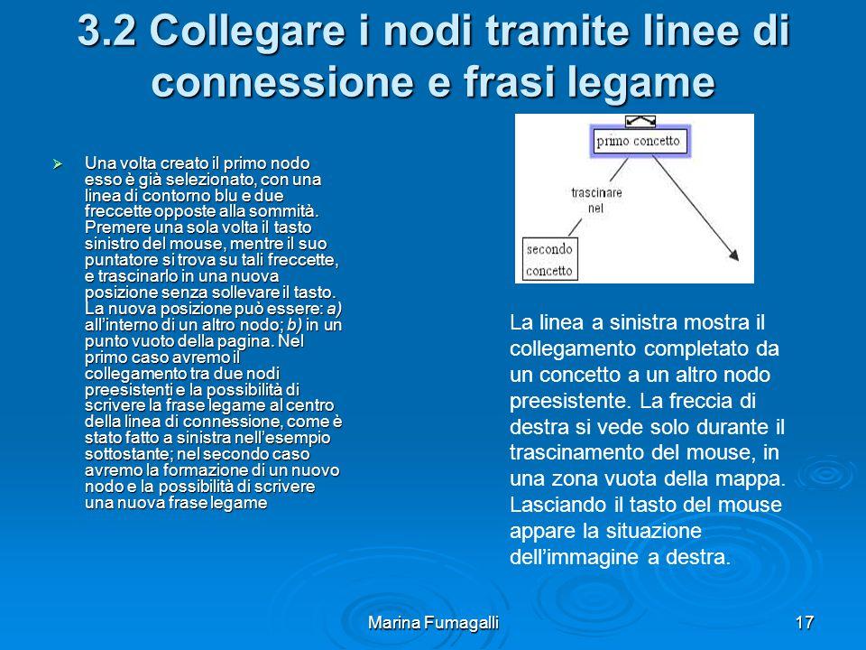 Marina Fumagalli17 3.2 Collegare i nodi tramite linee di connessione e frasi legame  Una volta creato il primo nodo esso è già selezionato, con una linea di contorno blu e due freccette opposte alla sommità.