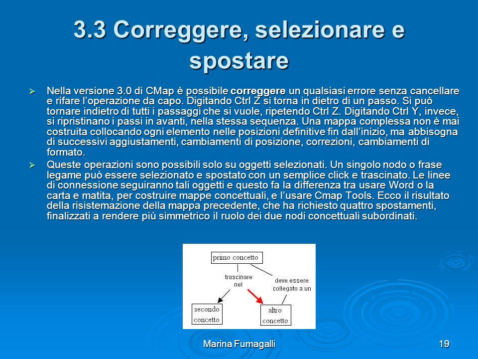 Marina Fumagalli19 3.3 Correggere, selezionare e spostare  Nella versione 3.0 di CMap è possibile correggere un qualsiasi errore senza cancellare e rifare l'operazione da capo.