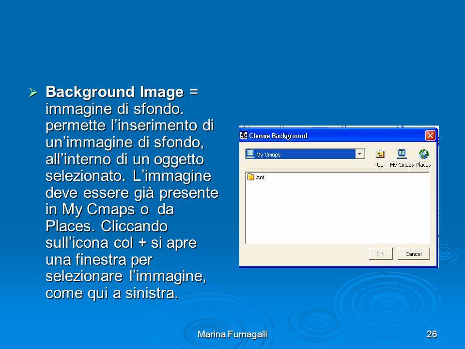 Marina Fumagalli26  Background Image = immagine di sfondo. permette l'inserimento di un'immagine di sfondo, all'interno di un oggetto selezionato. L'