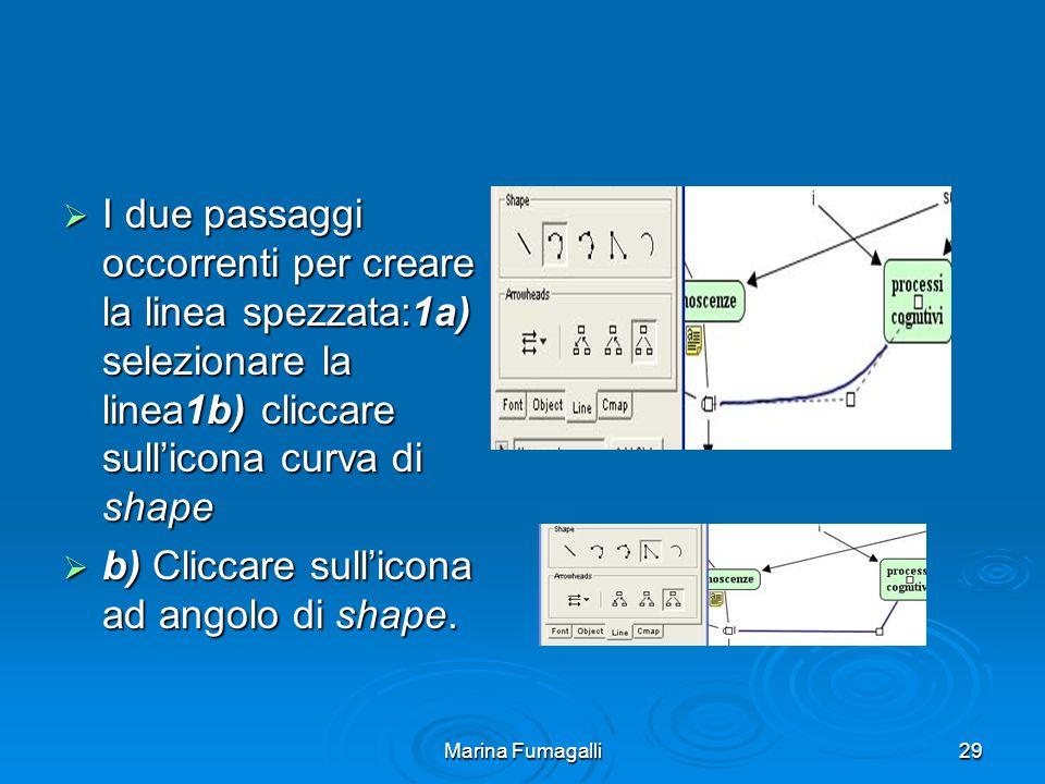 Marina Fumagalli29  I due passaggi occorrenti per creare la linea spezzata:1a) selezionare la linea1b) cliccare sull'icona curva di shape  b) Cliccare sull'icona ad angolo di shape.