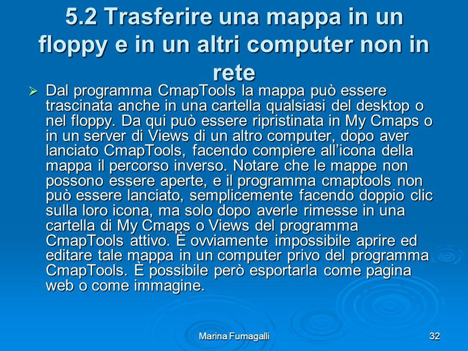 Marina Fumagalli32 5.2 Trasferire una mappa in un floppy e in un altri computer non in rete  Dal programma CmapTools la mappa può essere trascinata anche in una cartella qualsiasi del desktop o nel floppy.
