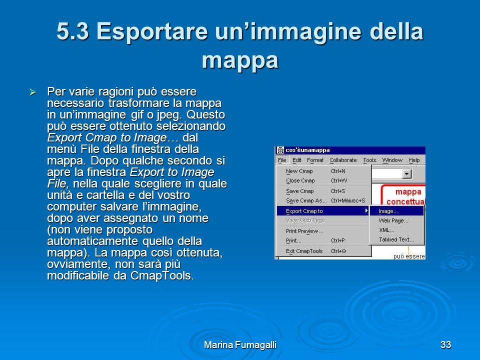 Marina Fumagalli33 5.3 Esportare un'immagine della mappa  Per varie ragioni può essere necessario trasformare la mappa in un'immagine gif o jpeg.