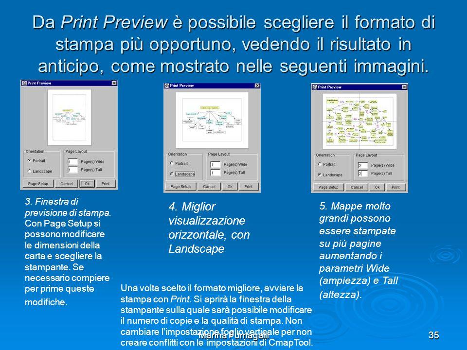 Marina Fumagalli35 Da Print Preview è possibile scegliere il formato di stampa più opportuno, vedendo il risultato in anticipo, come mostrato nelle seguenti immagini.