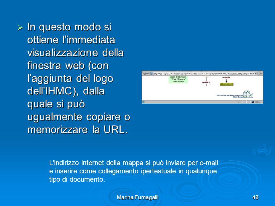 Marina Fumagalli48  In questo modo si ottiene l'immediata visualizzazione della finestra web (con l'aggiunta del logo dell'IHMC), dalla quale si può ugualmente copiare o memorizzare la URL.