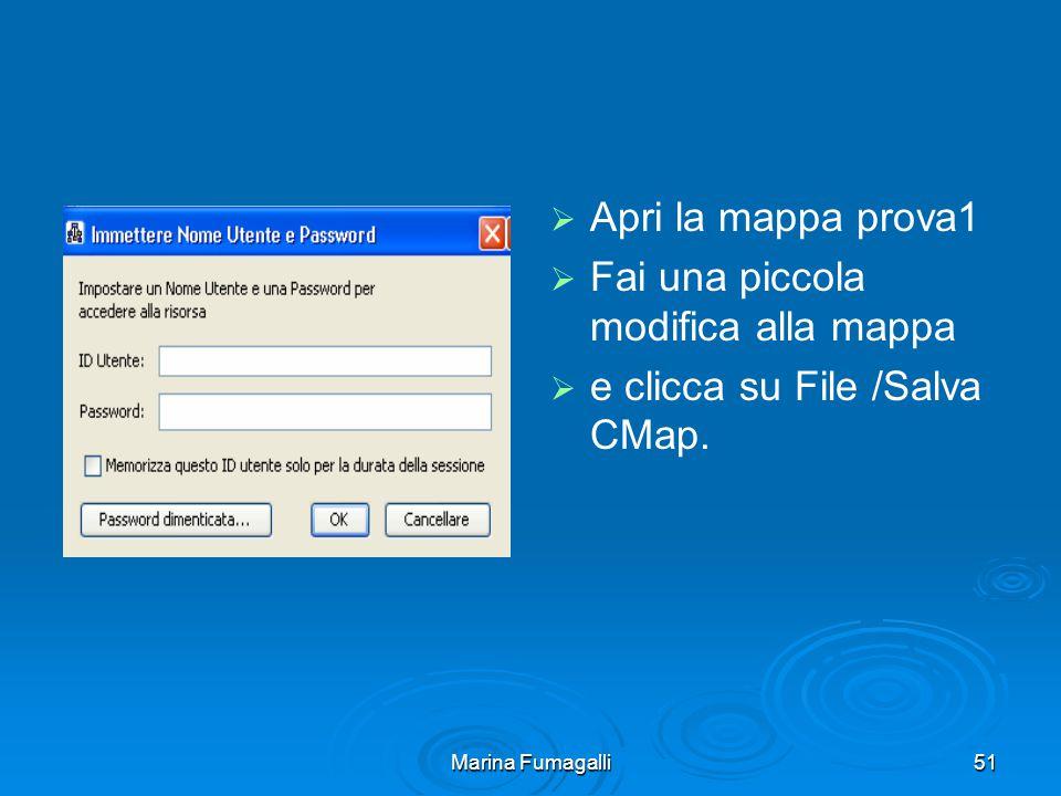 Marina Fumagalli51   Apri la mappa prova1   Fai una piccola modifica alla mappa   e clicca su File /Salva CMap.