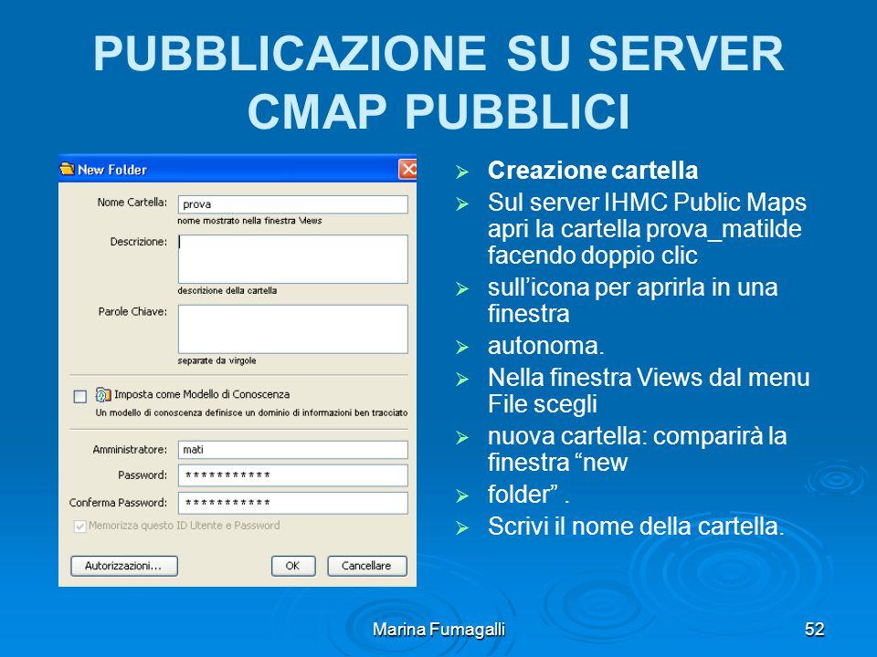 Marina Fumagalli52 PUBBLICAZIONE SU SERVER CMAP PUBBLICI   Creazione cartella   Sul server IHMC Public Maps apri la cartella prova_matilde facendo doppio clic   sull'icona per aprirla in una finestra   autonoma.