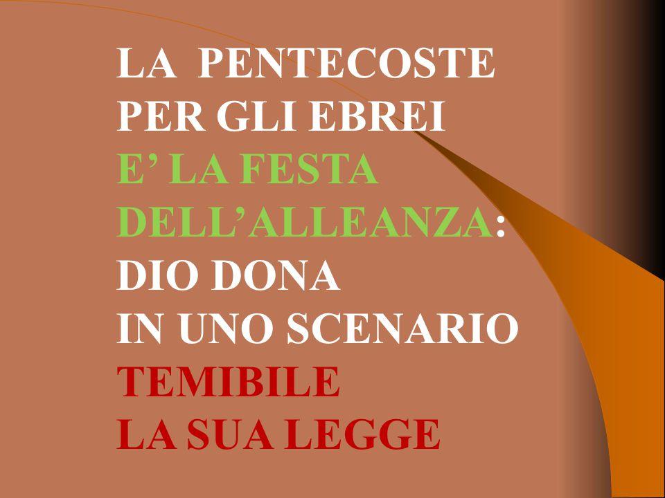 LA PENTECOSTE PER GLI EBREI E' LA FESTA DELL'ALLEANZA: DIO DONA IN UNO SCENARIO TEMIBILE LA SUA LEGGE