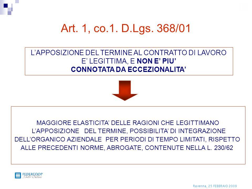 Ravenna, 25 FEBBRAIO 2009 L'assunzione a termine, così come risulta dall'oggetto, avviene ai sensi dell'art.