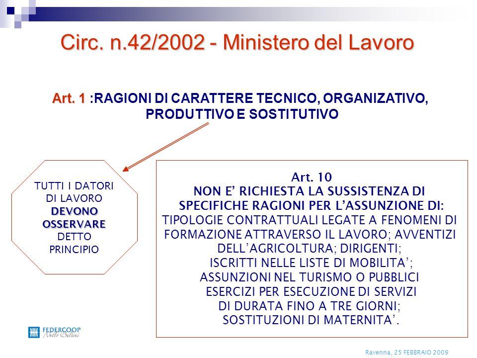 Ravenna, 25 FEBBRAIO 2009 Art. 1 Art. 1 :RAGIONI DI CARATTERE TECNICO, ORGANIZATIVO, PRODUTTIVO E SOSTITUTIVO Art. 10 NON E' RICHIESTA LA SUSSISTENZA