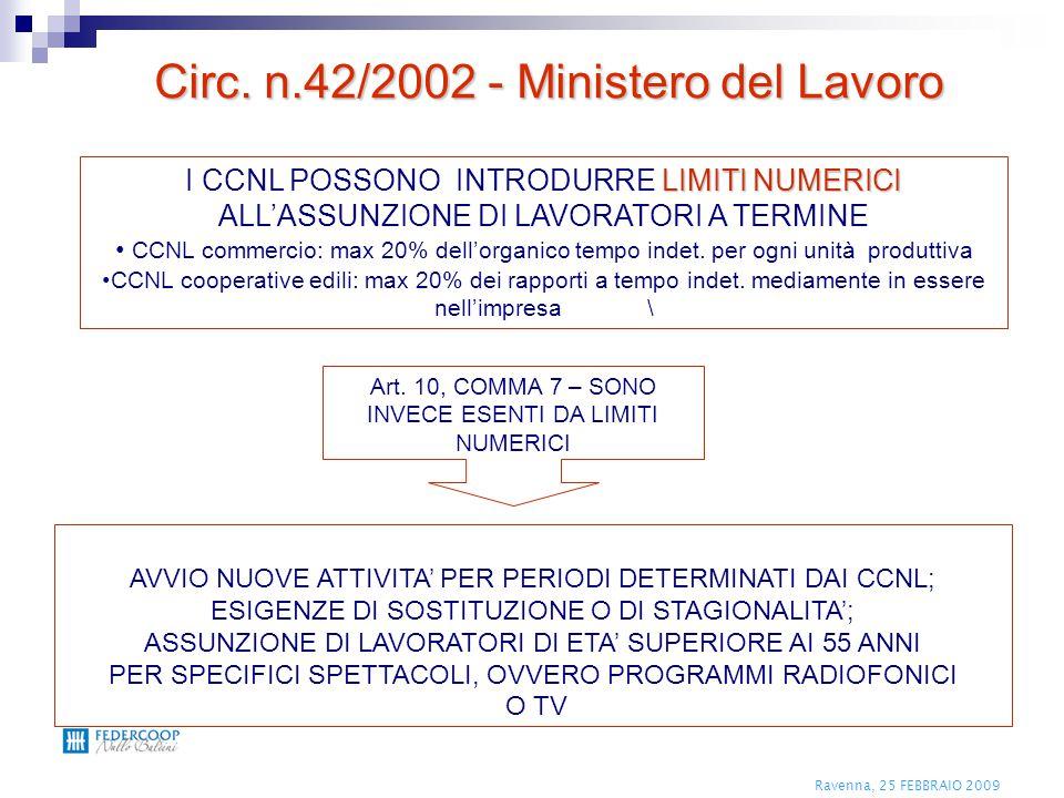 Ravenna, 25 FEBBRAIO 2009 LIMITI NUMERICI I CCNL POSSONO INTRODURRE LIMITI NUMERICI ALL'ASSUNZIONE DI LAVORATORI A TERMINE CCNL commercio: max 20% del