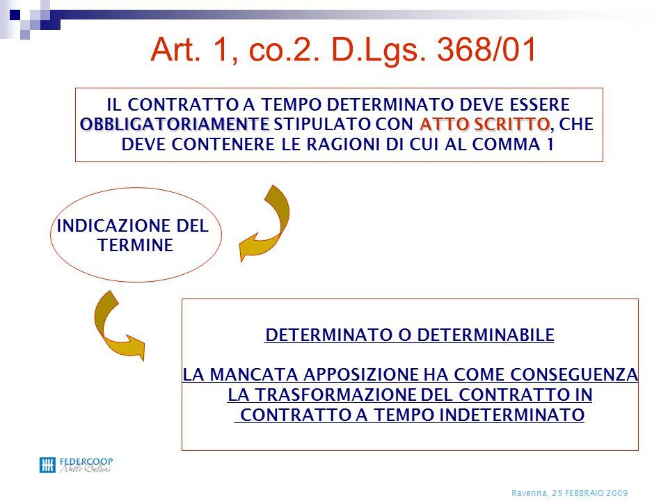 Ravenna, 25 FEBBRAIO 2009 IL CONTRATTO A TEMPO DETERMINATO DEVE ESSERE OBBLIGATORIAMENTEATTO SCRITTO OBBLIGATORIAMENTE STIPULATO CON ATTO SCRITTO, CHE