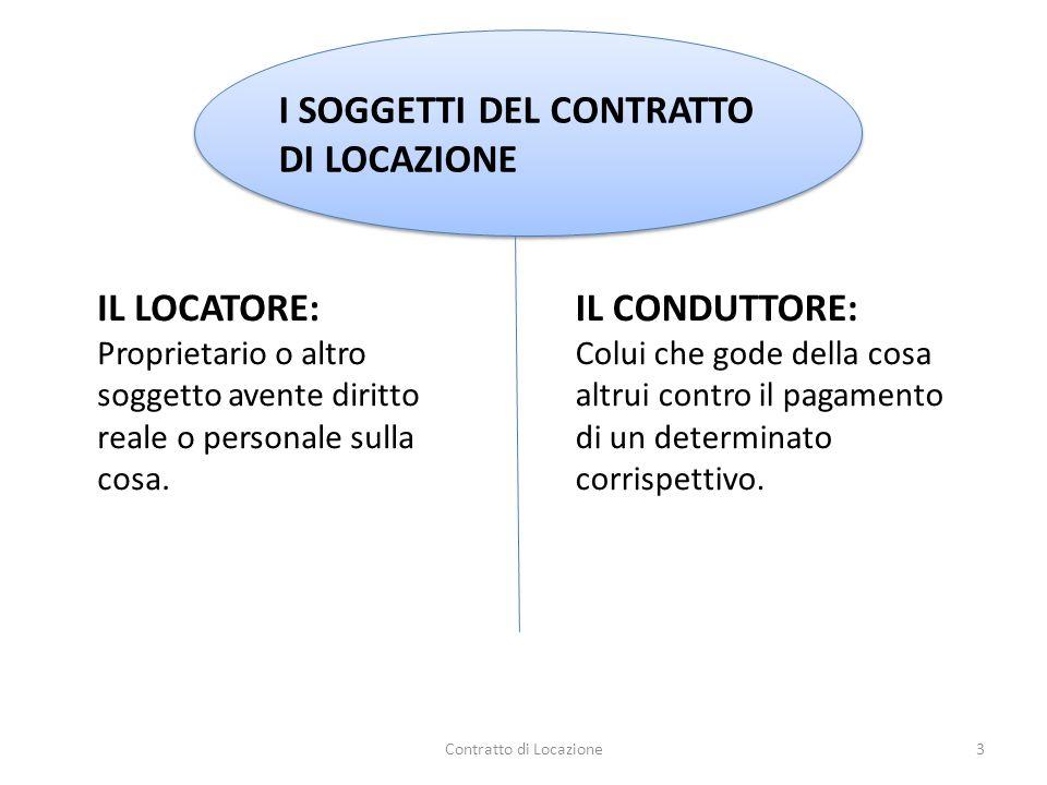 Il contratto di locazione è un contratto consensuale, ad effetti obbligatori, oneroso, a prestazioni corrispettive, di durata e non solenne.