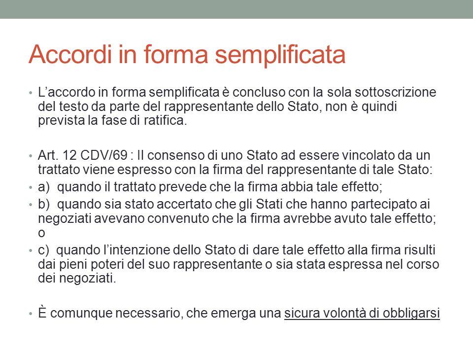 Accordi in forma semplificata L'accordo in forma semplificata è concluso con la sola sottoscrizione del testo da parte del rappresentante dello Stato,