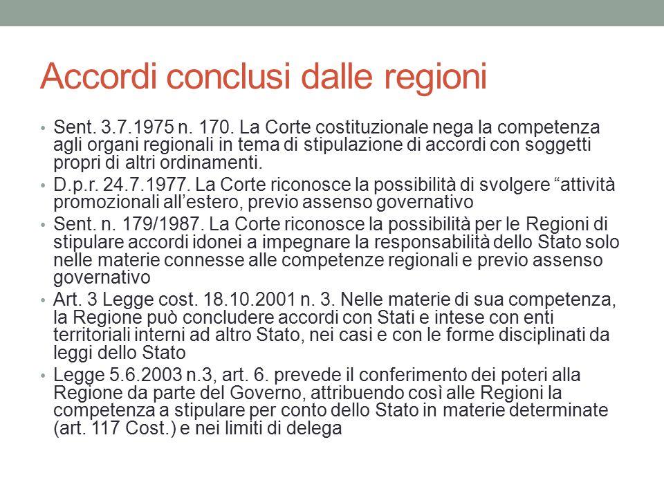 Accordi conclusi dalle regioni Sent. 3.7.1975 n. 170. La Corte costituzionale nega la competenza agli organi regionali in tema di stipulazione di acco