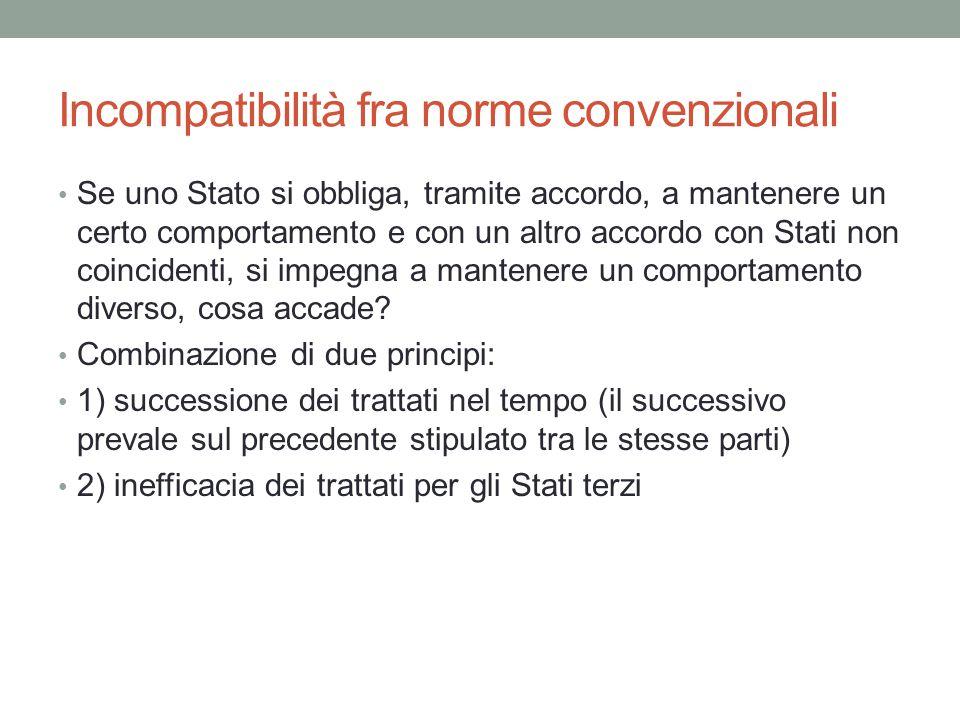 Incompatibilità fra norme convenzionali Se uno Stato si obbliga, tramite accordo, a mantenere un certo comportamento e con un altro accordo con Stati