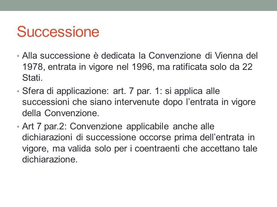 Successione Alla successione è dedicata la Convenzione di Vienna del 1978, entrata in vigore nel 1996, ma ratificata solo da 22 Stati. Sfera di applic
