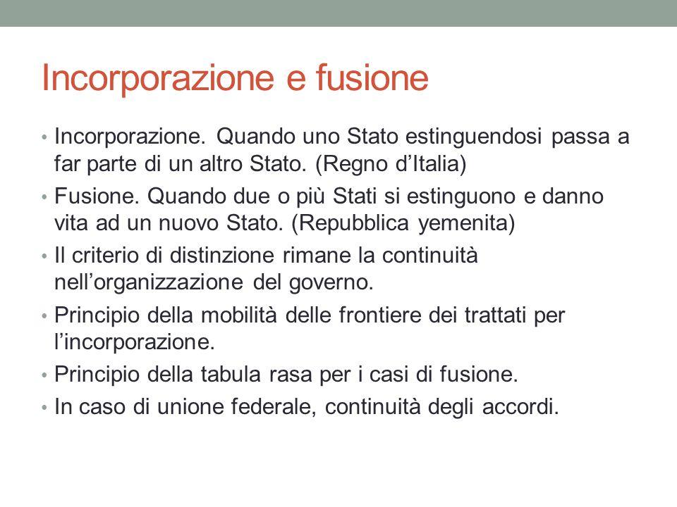 Incorporazione e fusione Incorporazione. Quando uno Stato estinguendosi passa a far parte di un altro Stato. (Regno d'Italia) Fusione. Quando due o pi