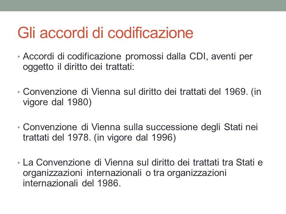Gli accordi di codificazione Accordi di codificazione promossi dalla CDI, aventi per oggetto il diritto dei trattati: Convenzione di Vienna sul diritt