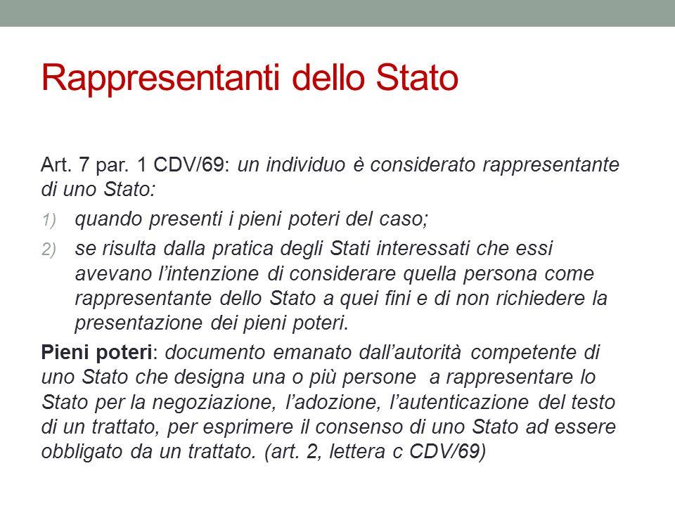 Rappresentanti dello Stato Art. 7 par. 1 CDV/69: un individuo è considerato rappresentante di uno Stato: 1) quando presenti i pieni poteri del caso; 2