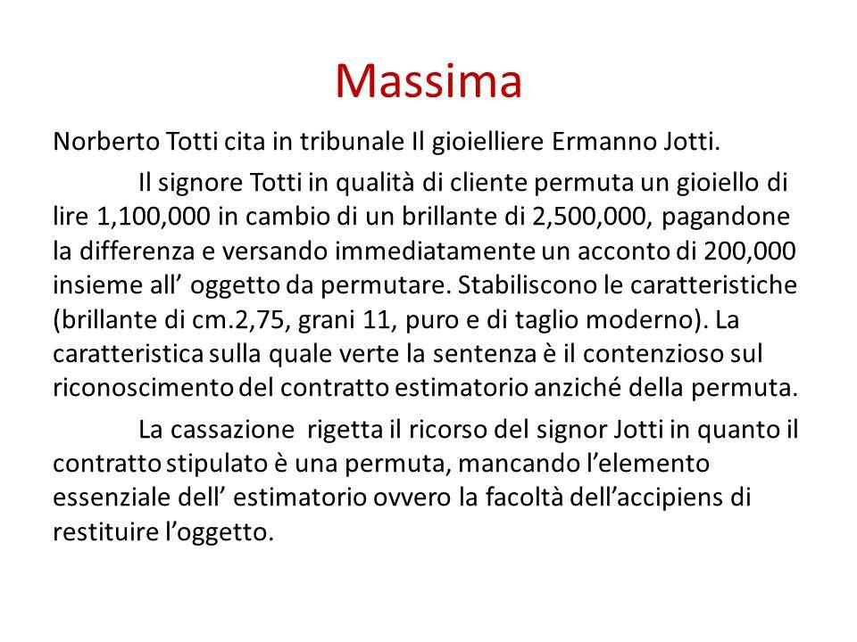 Massima Norberto Totti cita in tribunale Il gioielliere Ermanno Jotti. Il signore Totti in qualità di cliente permuta un gioiello di lire 1,100,000 in