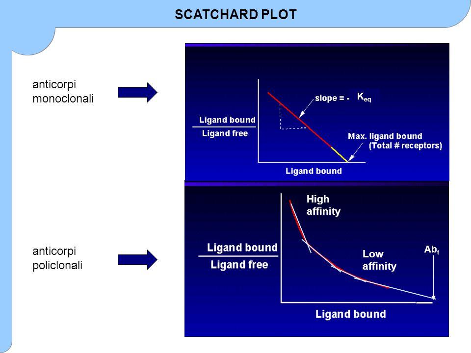 anticorpi monoclonali High affinity Low affinity Ab t K eq SCATCHARD PLOT anticorpi policlonali