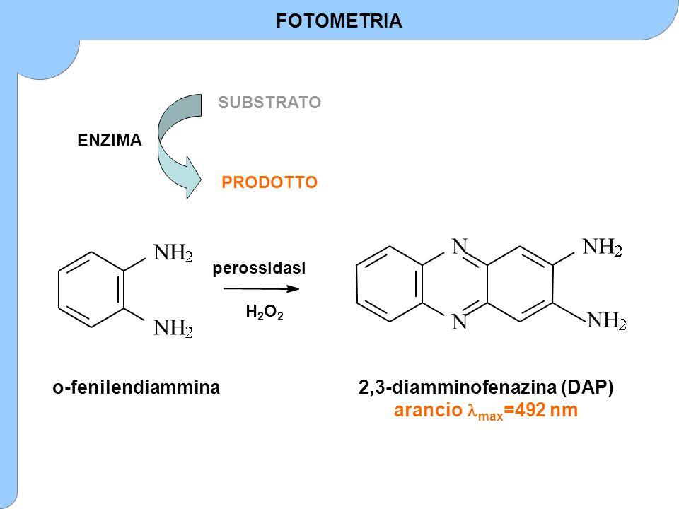 ENZIMA SUBSTRATO PRODOTTO          o-fenilendiammina2,3-diamminofenazina (DAP) arancio max =492 nm perossidasi H2O2H2O2 FOTOMETRIA