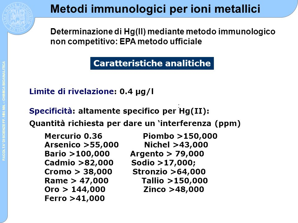 FACOLTA' DI SCIENZE FF. MM. NN. – CHIMICA BIOANALITICA : Limite di rivelazione: 0.4 μg/l Specificità: altamente specifico per Hg(II): Quantità richies