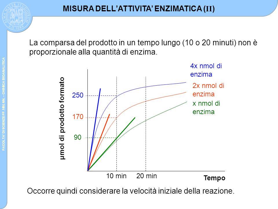 FACOLTA' DI SCIENZE FF. MM. NN. – CHIMICA BIOANALITICA Tempo μmol di prodotto formato x nmol di enzima 2x nmol di enzima 4x nmol di enzima 10 min20 mi