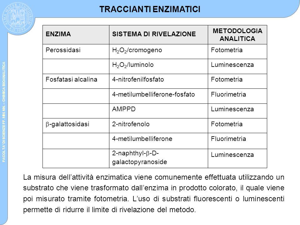 FACOLTA' DI SCIENZE FF. MM. NN. – CHIMICA BIOANALITICA La misura dell'attività enzimatica viene comunemente effettuata utilizzando un substrato che vi
