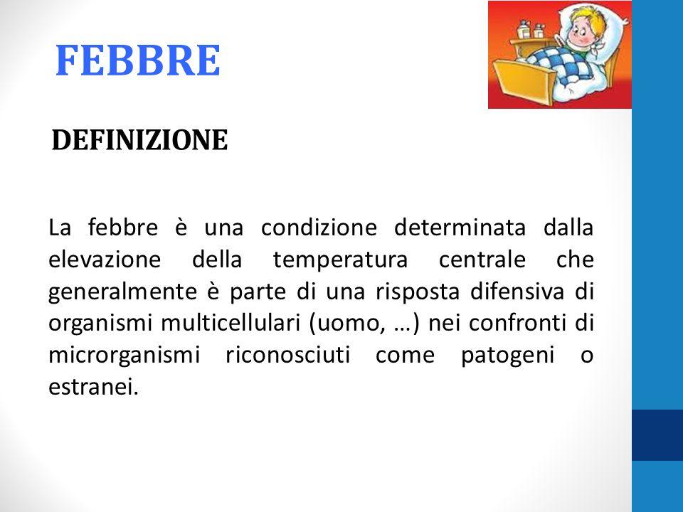 DEFINIZIONE La febbre è una condizione determinata dalla elevazione della temperatura centrale che generalmente è parte di una risposta difensiva di o