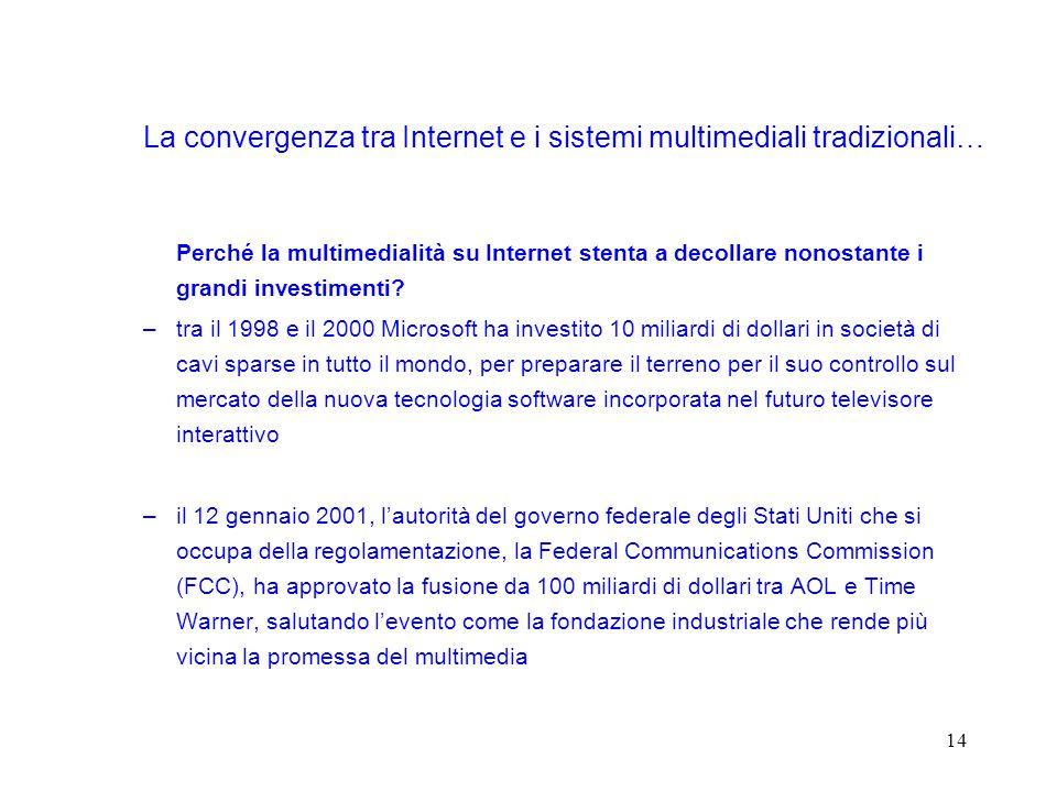 14 La convergenza tra Internet e i sistemi multimediali tradizionali… Perché la multimedialità su Internet stenta a decollare nonostante i grandi investimenti.