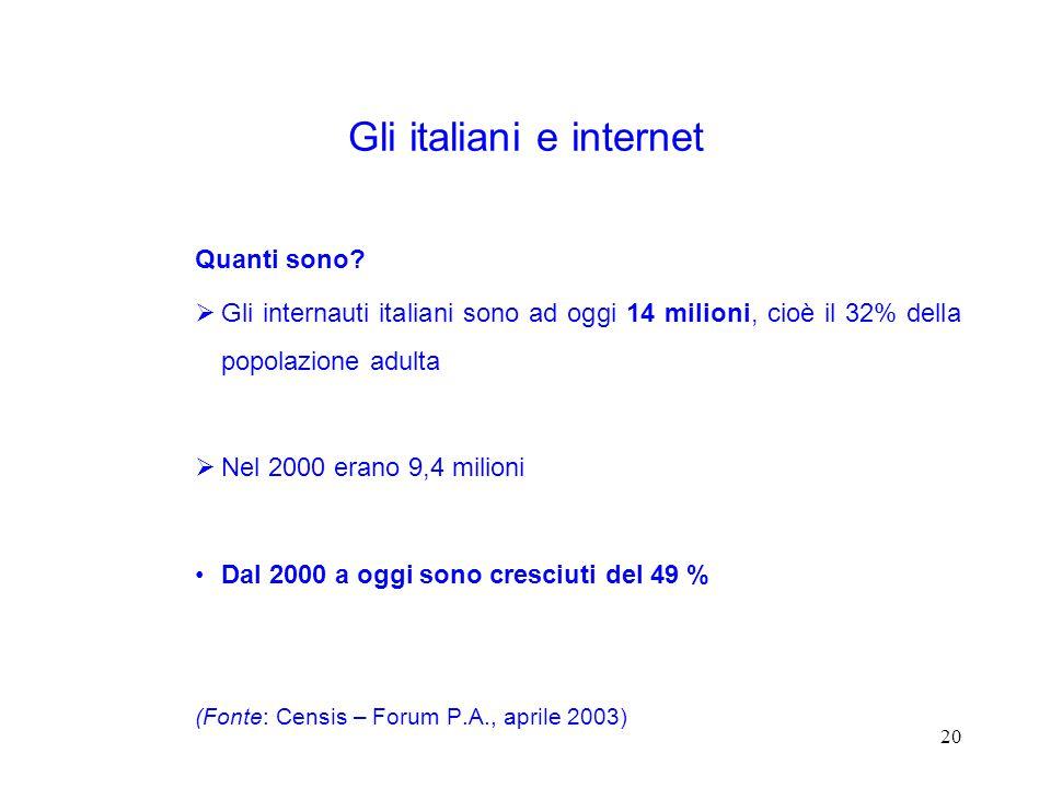 20 Gli italiani e internet Quanti sono.
