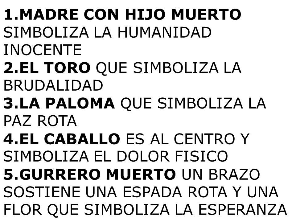 1.MADRE CON HIJO MUERTO SIMBOLIZA LA HUMANIDAD INOCENTE 2.EL TORO QUE SIMBOLIZA LA BRUDALIDAD 3.LA PALOMA QUE SIMBOLIZA LA PAZ ROTA 4.EL CABALLO ES AL