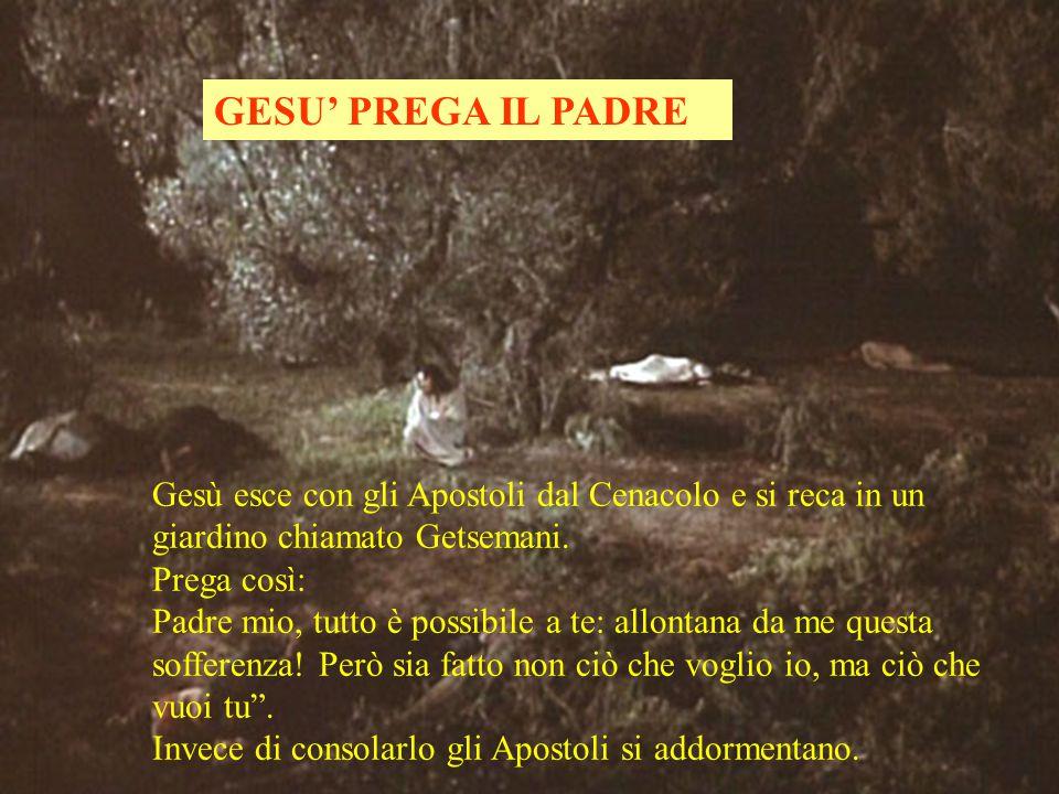 GESU' PREGA IL PADRE Gesù esce con gli Apostoli dal Cenacolo e si reca in un giardino chiamato Getsemani.