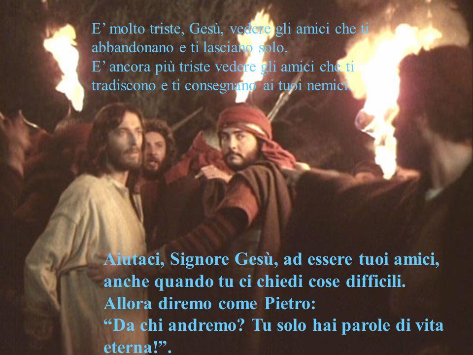 E' molto triste, Gesù, vedere gli amici che ti abbandonano e ti lasciano solo.