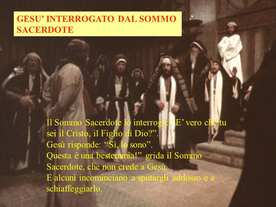 GESU' INTERROGATO DAL SOMMO SACERDOTE Il Sommo Sacerdote lo interroga: E' vero che tu sei il Cristo, il Figlio di Dio? .