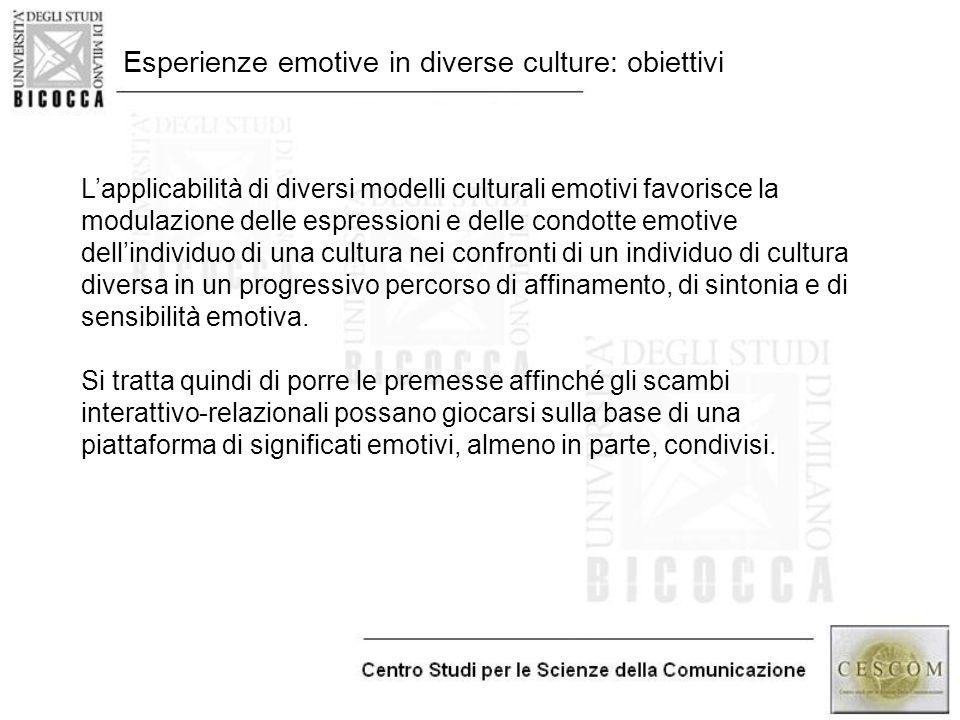 Esperienze emotive in diverse culture: obiettivi L'applicabilità di diversi modelli culturali emotivi favorisce la modulazione delle espressioni e del