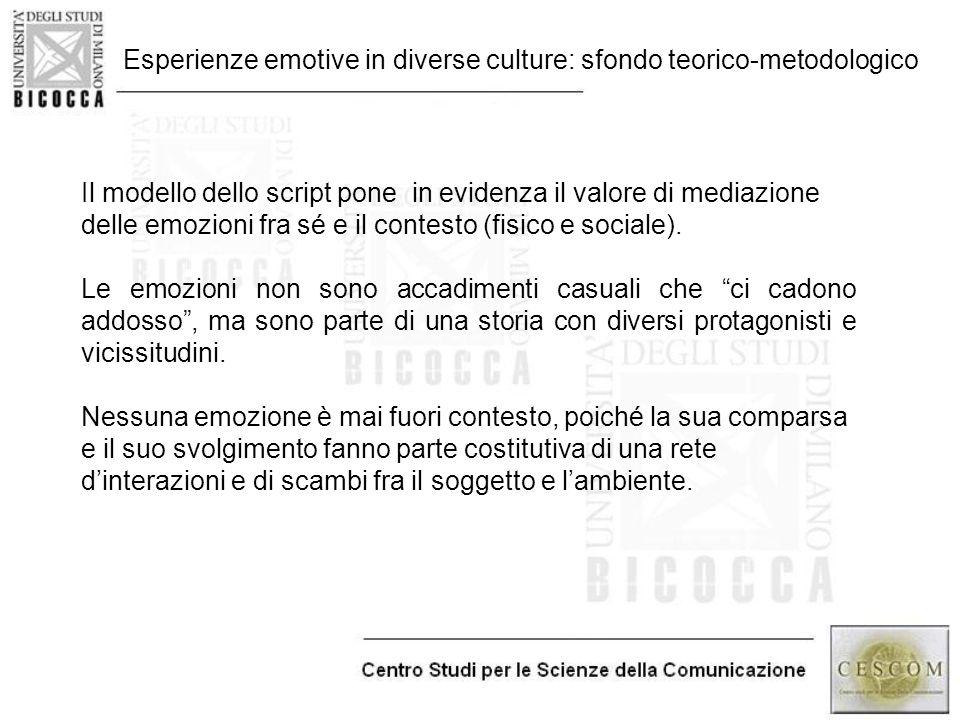 Esperienze emotive in diverse culture: sfondo teorico-metodologico Il modello dello script pone in evidenza il valore di mediazione delle emozioni fra