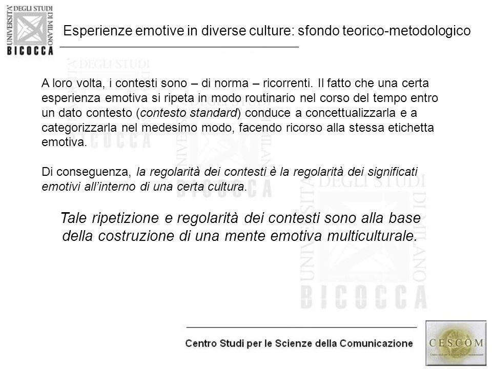 Esperienze emotive in diverse culture: sfondo teorico-metodologico A loro volta, i contesti sono – di norma – ricorrenti. Il fatto che una certa esper