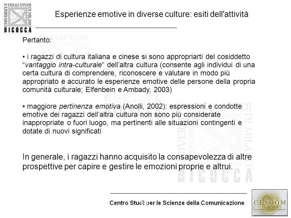 """22 Pertanto: i ragazzi di cultura italiana e cinese si sono appropriarti del cosiddetto """"vantaggio intra-culturale"""" dell'altra cultura (consente agli"""