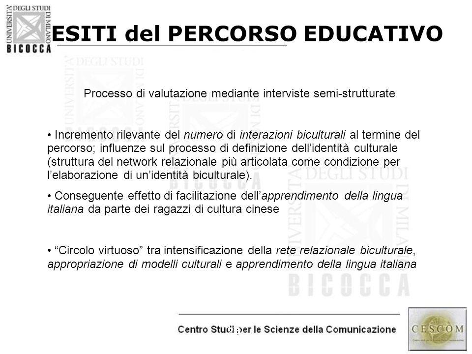 23 ESITI del PERCORSO EDUCATIVO Processo di valutazione mediante interviste semi-strutturate Incremento rilevante del numero di interazioni bicultural