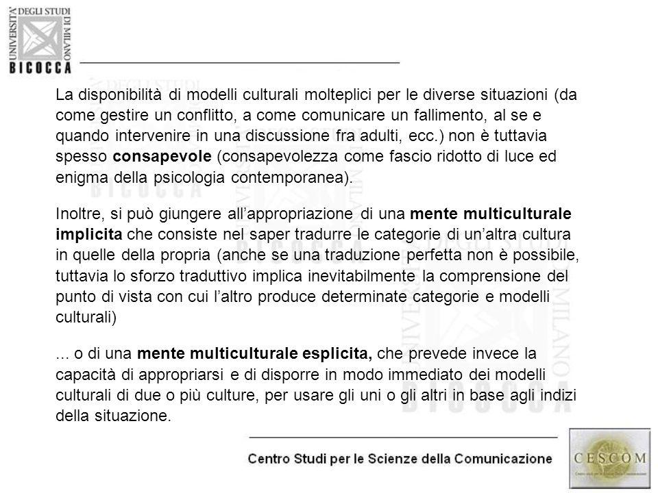 La disponibilità di modelli culturali molteplici per le diverse situazioni (da come gestire un conflitto, a come comunicare un fallimento, al se e qua
