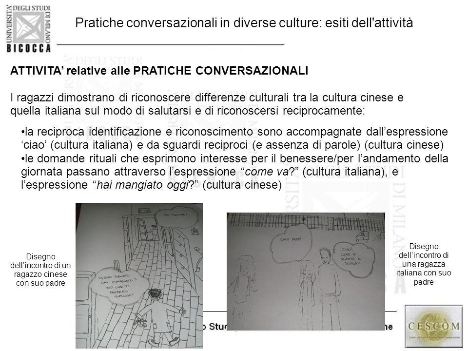 48 ATTIVITA' relative alle PRATICHE CONVERSAZIONALI I ragazzi dimostrano di riconoscere differenze culturali tra la cultura cinese e quella italiana s