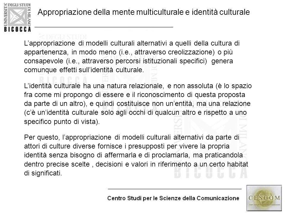 Appropriazione della mente multiculturale e identità culturale L'appropriazione di modelli culturali alternativi a quelli della cultura di appartenenz