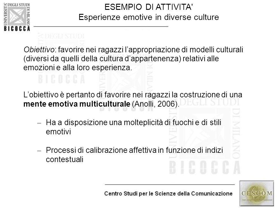 ESEMPIO DI ATTIVITA' Esperienze emotive in diverse culture Obiettivo: favorire nei ragazzi l'appropriazione di modelli culturali (diversi da quelli de