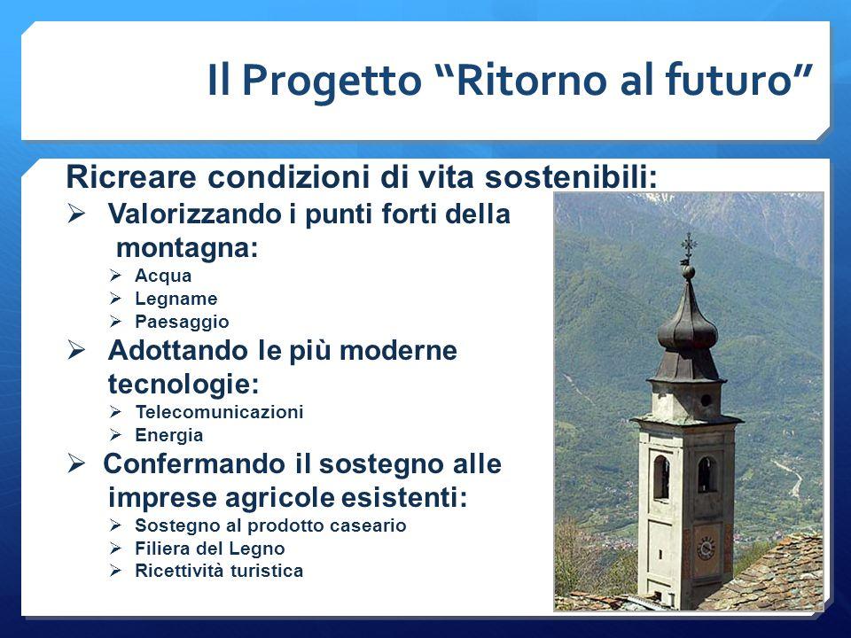 """Il Progetto """"Ritorno al futuro"""" Ricreare condizioni di vita sostenibili:  Valorizzando i punti forti della montagna:  Acqua  Legname  Paesaggio """
