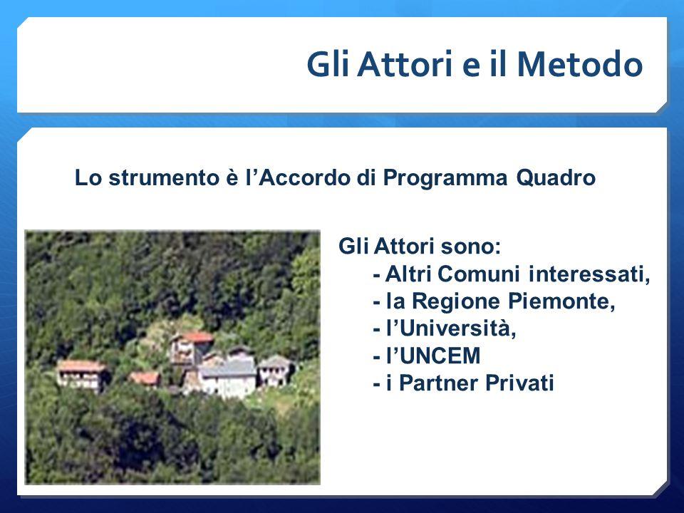 Gli Attori e il Metodo Gli Attori sono: - Altri Comuni interessati, - la Regione Piemonte, - l'Università, - l'UNCEM - i Partner Privati Lo strumento