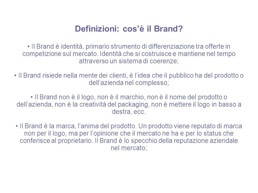 Definizioni: cos'è il Brand? Il Brand è identità, primario strumento di differenziazione tra offerte in competizione sul mercato. Identità che si cost