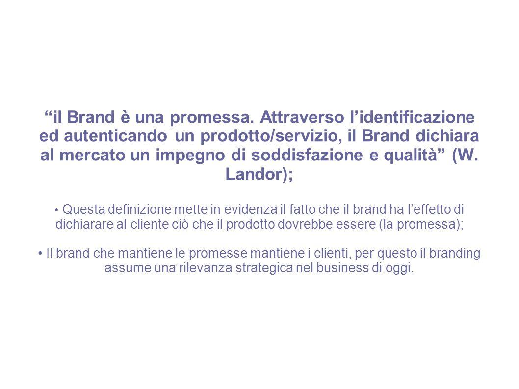 """""""il Brand è una promessa. Attraverso l'identificazione ed autenticando un prodotto/servizio, il Brand dichiara al mercato un impegno di soddisfazione"""